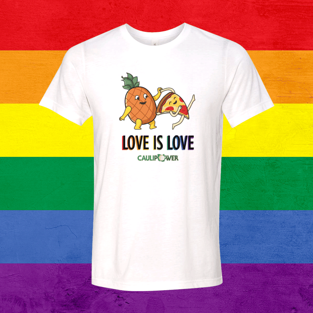 LOVE IS LOVE T-Shirt over a rainbow background
