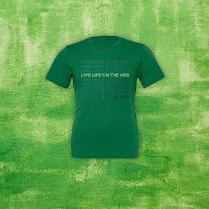 """LIVE LIFE ON THE VEG"" Pattern T-Shirt"