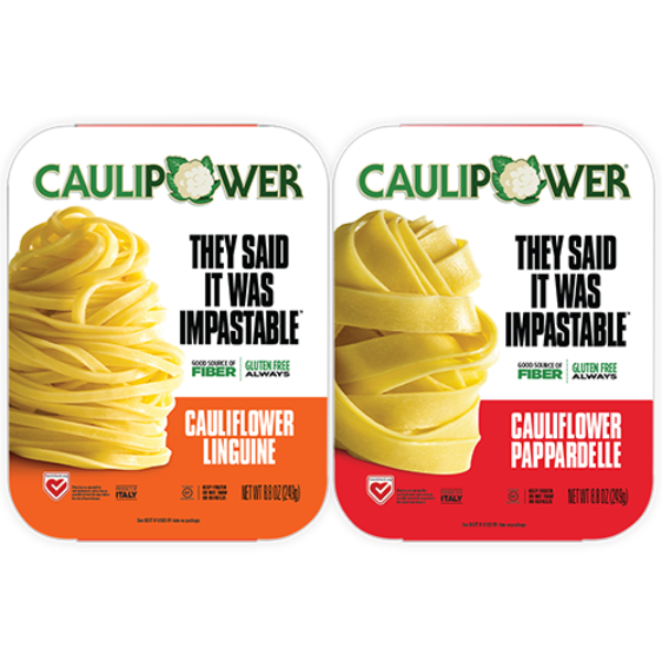 CAULIPOWER Linguine and Pappardelle frozen cauliflower pasta packages