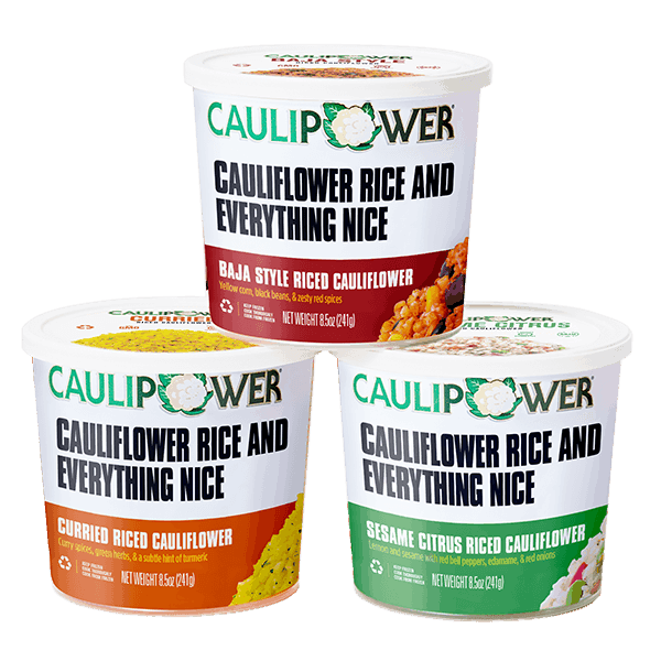 Packaging of three flavors of CAULIPOWER Riced Cauliflower