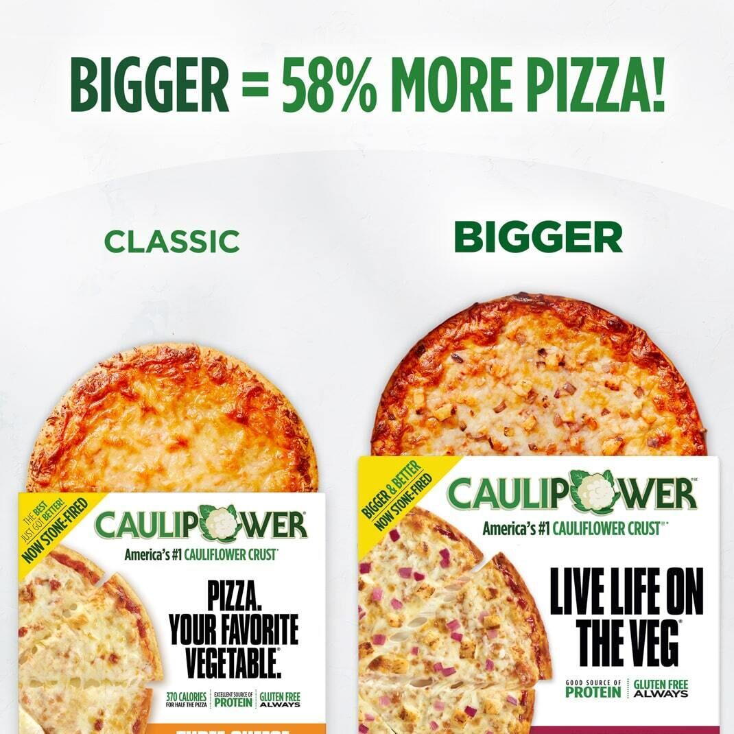 Our BIGGER pizzas offer 58% more pizza than our classic pizzas!