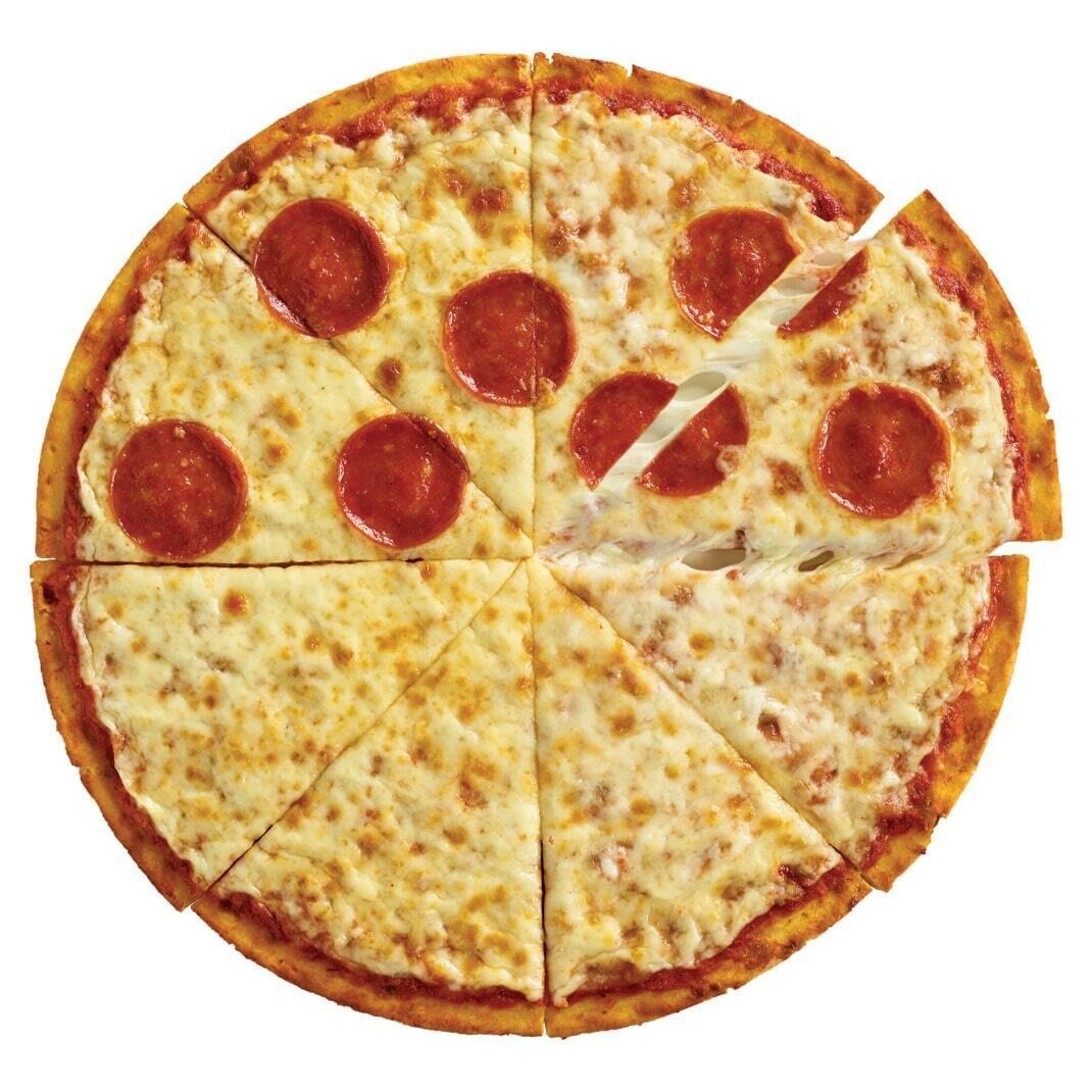 A CAULIPOWER Half Cheese, Half Uncured Pepperoni BIGGER Stone-fired Cauliflower Crust Pizza