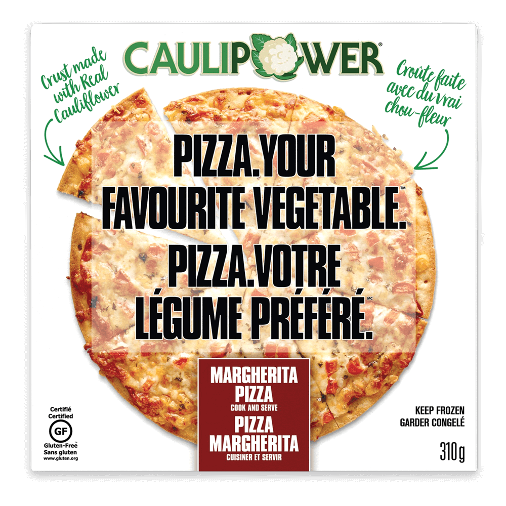 Box of frozen cauliflower-crust Margherita pizza by CAULIPOWER.