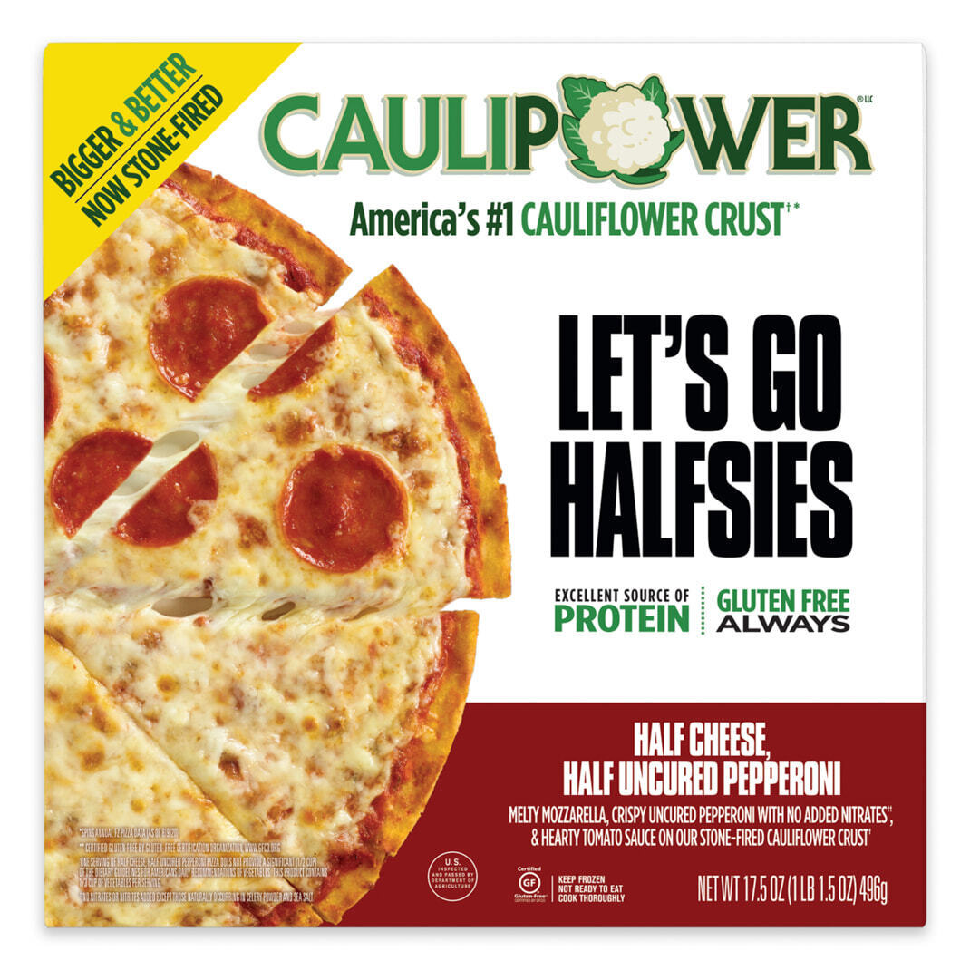 Half Cheese, Half Uncured Pepperoni BIGGER Frozen Cauliflower Pizza Packaging from CAULIPOWER