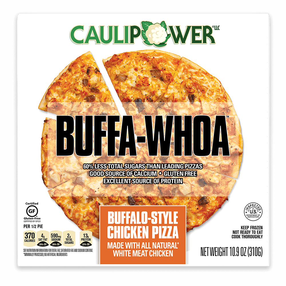 Buffalo Style Frozen Cauliflower Pizza Packaging from CAULIPOWER