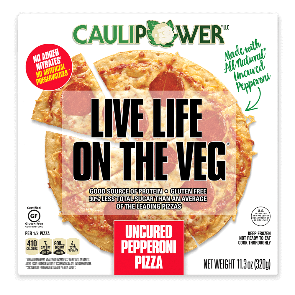 Uncured Pepperoni Cauliflower Crust Frozen Pizza box by CAULIPOWER
