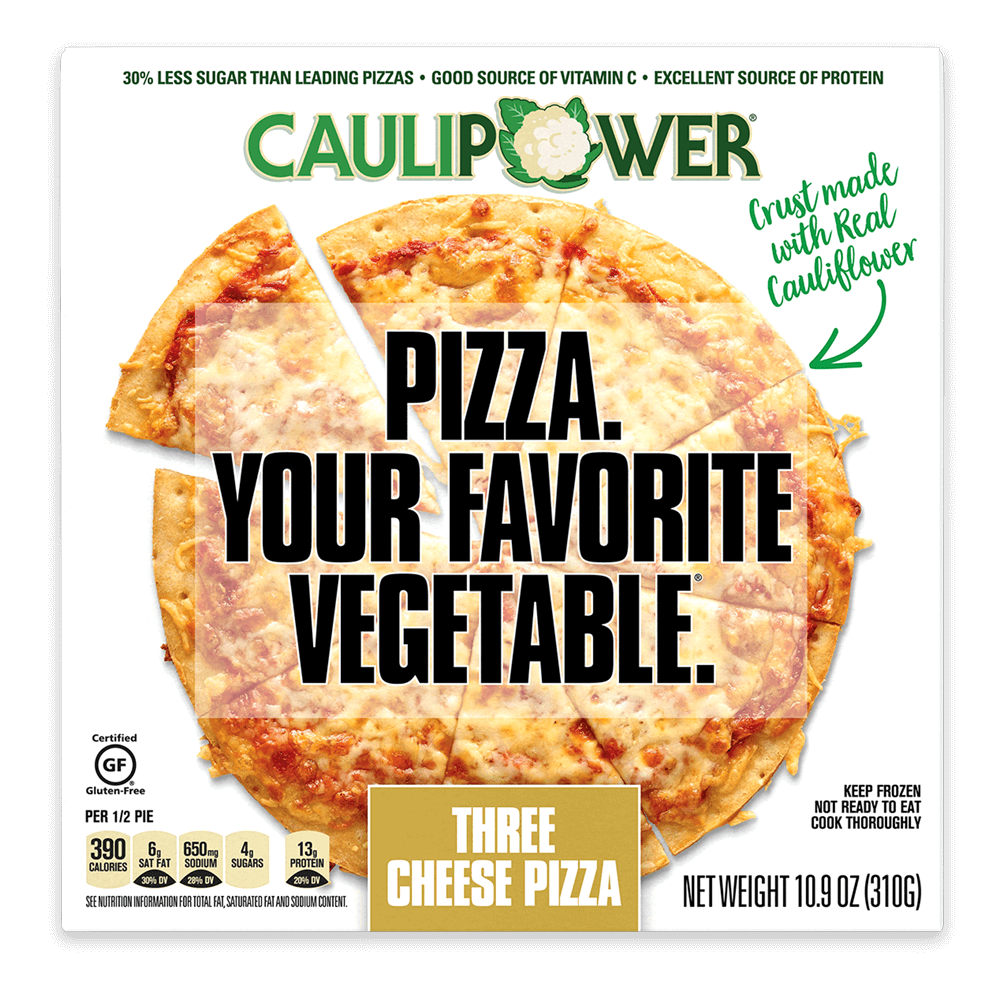Three Cheese Cauliflower Crust Frozen Pizza Packaging from CAULIPOWER