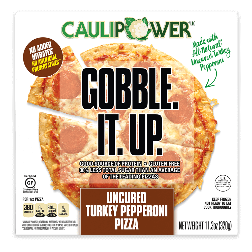 Uncured Turkey Pepperoni Cauliflower Crust Frozen Pizza Box from CAULIPOWER
