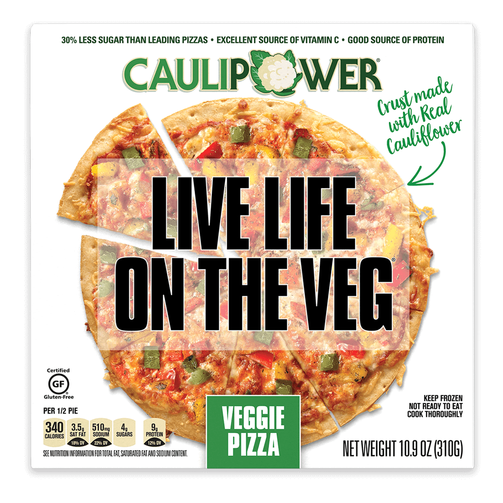 Veggie Cauliflower Crust Frozen Pizza Packaging from CAULIPOWER