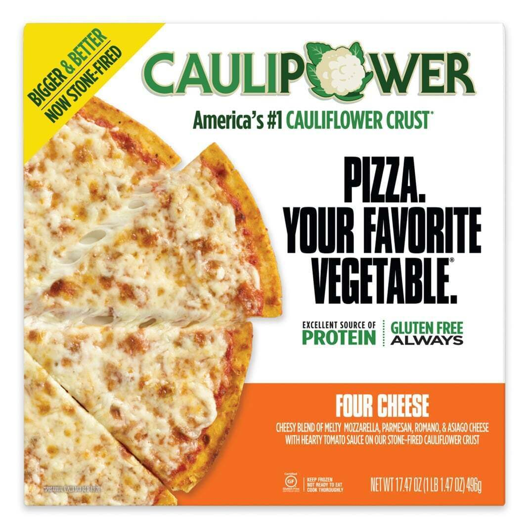 Four Cheese BIGGER Frozen Cauliflower Pizza Packaging from CAULIPOWER