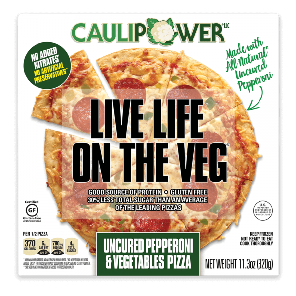 Uncured Pepperoni and Vegetable Cauliflower Pizza Packaging from CAULIPOWER