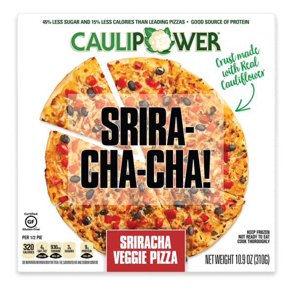 Sriracha Veggie Frozen Cauliflower Pizza Packaging from CAULIPOWER
