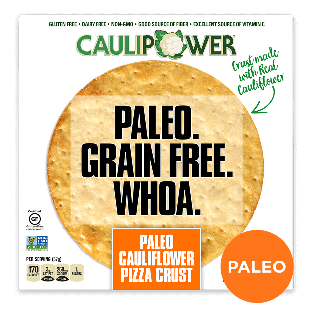 Paleo Grain Free Cauliflower Pizza Crust Packaging from CAULIPOWER