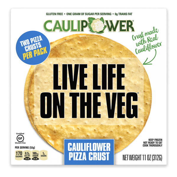 Box of CAULIPOWER pre-prepared frozen cauliflower pizza crust.