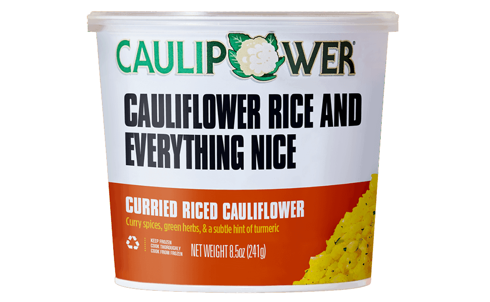 Curried Riced Cauliflower Cup Packaging from CAULIPOWER