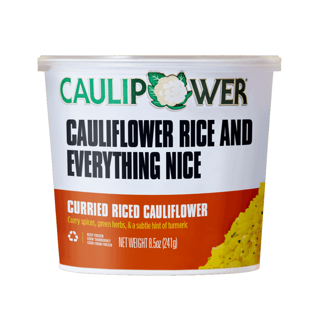 Curried Riced Cauliflower Cup Packaging from CAULIPOWER