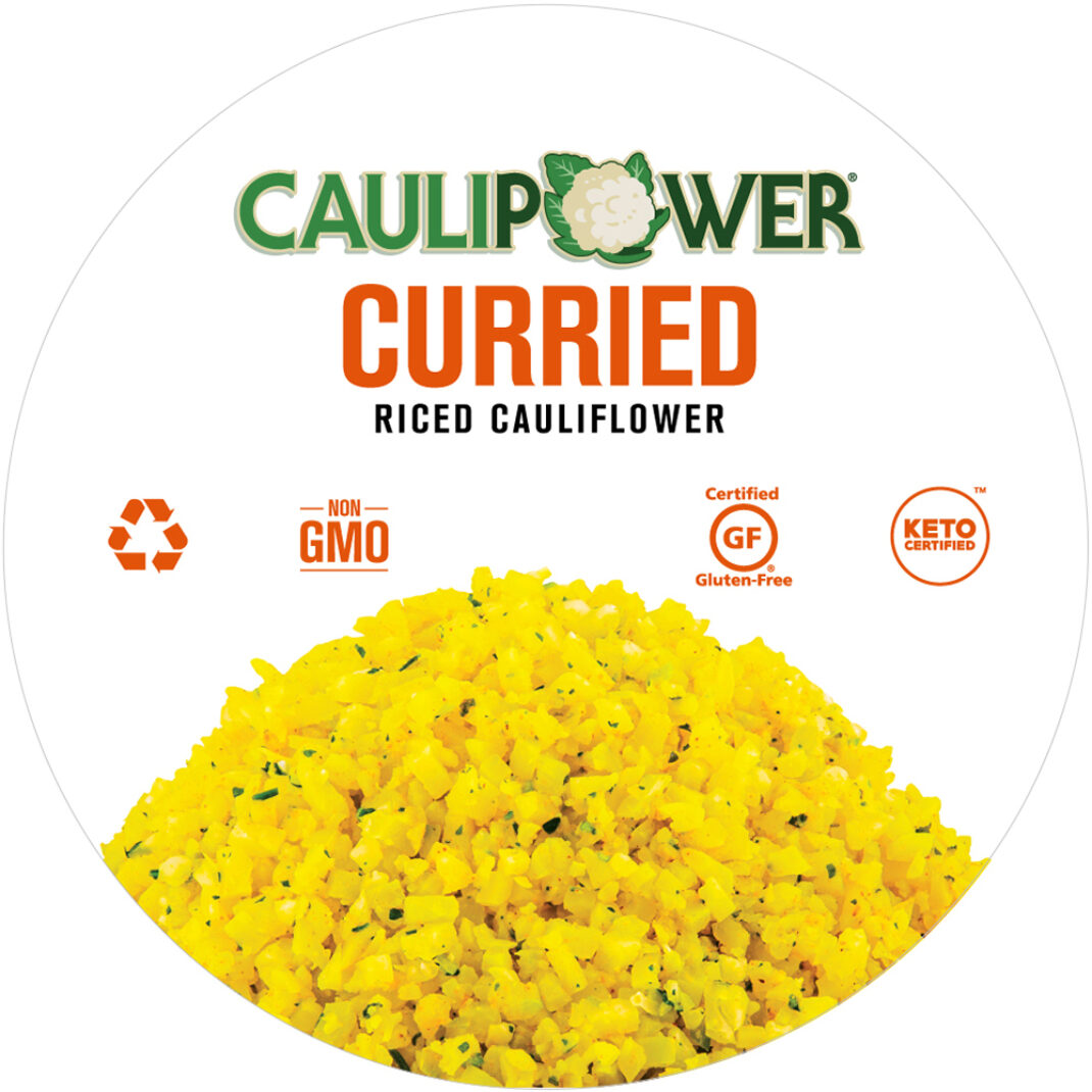 Curried Riced Cauliflower Cup Label from CAULIPOWER