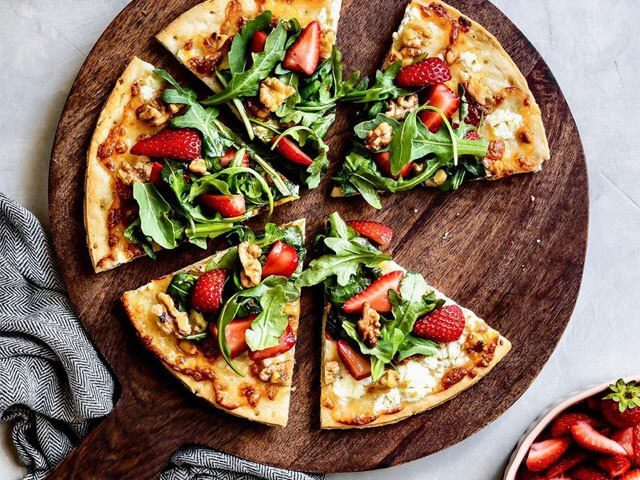Strawberry Walnut Cauliflower Crust Pizza