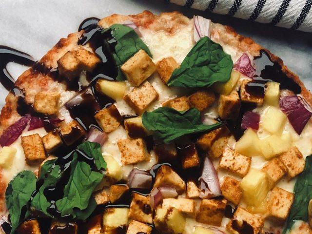 Hawaiian Pizza with BBQ Tofu & Pineapple