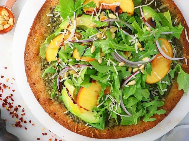 Pesto Peach Pizza