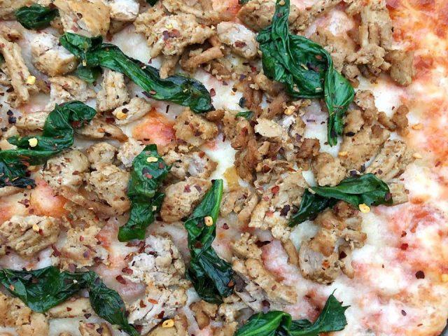 Spicy Ground Chicken & Spinach Pizza