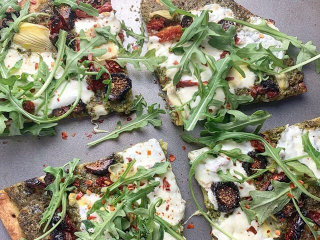 Pesto Cauliflower Crust Pizza with Burrata, Figs and Artichokes