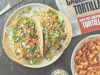 Healthy Buffalo Chicken Tacos featuring CAULIPOWER Tortillas