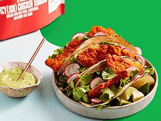 CAULIPOWER Baked Chicken Tacos with Avocado Buttermilk Dressing
