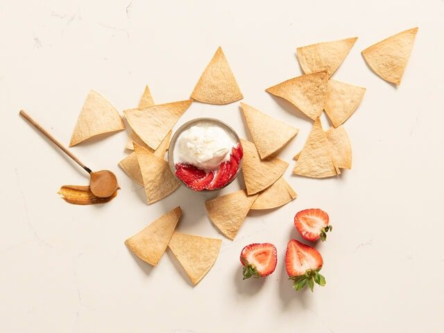 Churro Inspired Chips & Strawberry Whip Dip